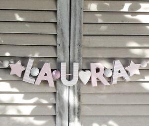 """""""laura"""" Nom Chaîne Chambre Enfant Porte Holzbuchstaben Rose-blanc Bébé Nom Shabby-afficher Le Titre D'origine Non Repassant"""