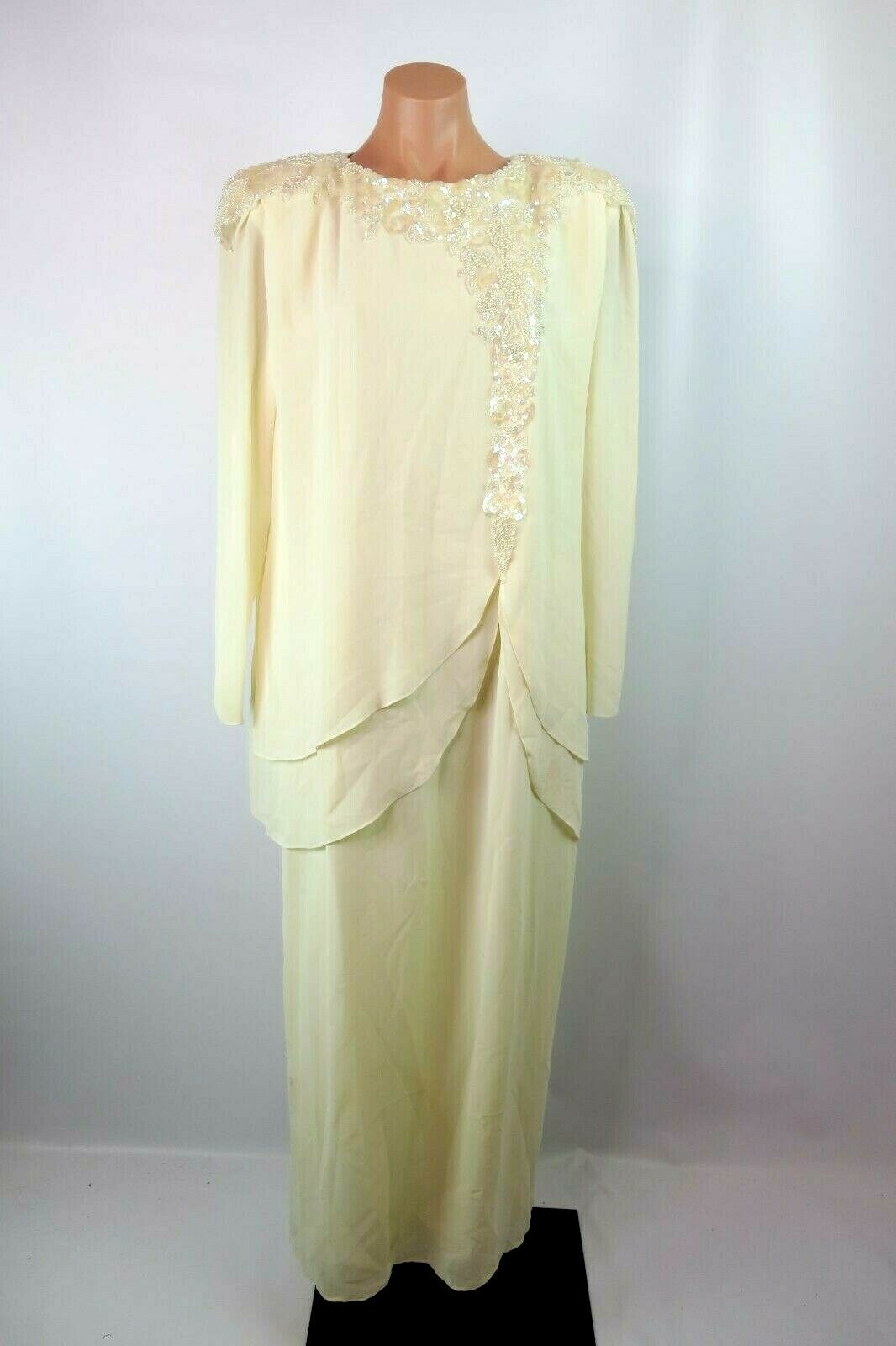 Ursula of Switzerland Formal Mother of Bride Wedding Ivory Dress Crepe Sz 18