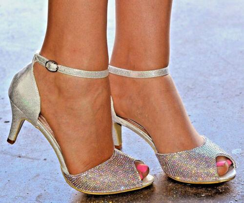 Women Rhinestone Diamante Mid Heel Shoes Ankle Strap Peep Toe Sandals Party Size