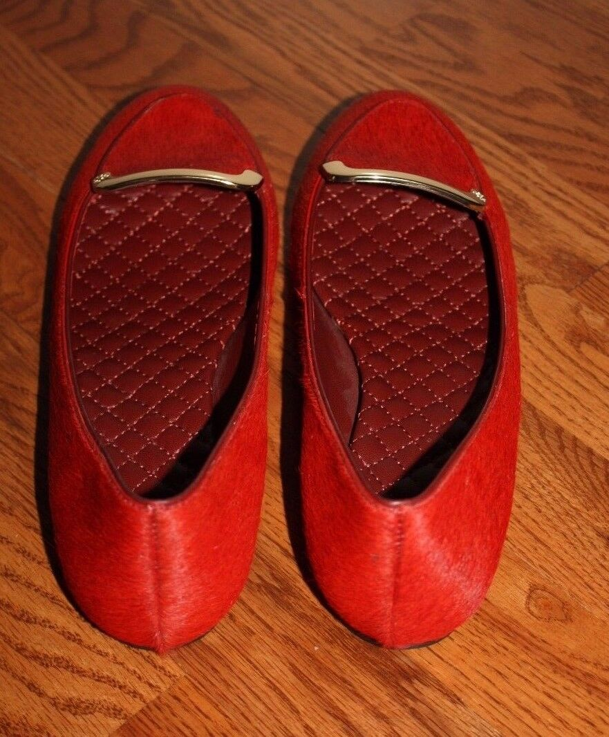 Womens    295 Tory Burch Jess Red Calf Hair Brick Flats shoes Size 9 M 88acfb