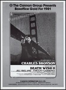 DEATH WISH II__Original 1981 Trade AD / poster__Charles Bronson__Jill Ireland