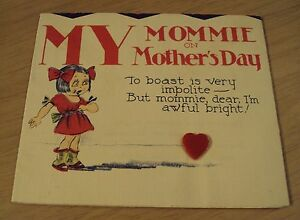 "VTG 1930's Novelty UNFOLDING ""MOTHER'S DAY CARD""~Meryle 5706"