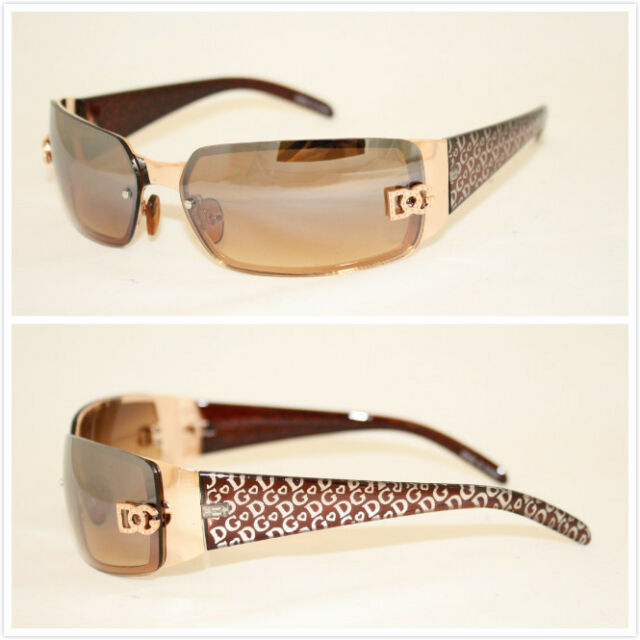 51f31bd1ba New DG Womens Fashion Designer Sunglasses Shades Rectangular Wrap Gold Brown