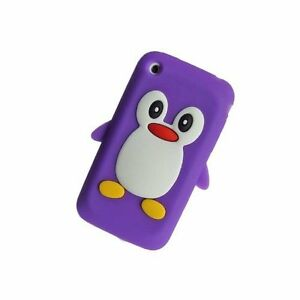 VIOLA-APPLE-IPHONE-3-3G-3GS-Pinguino-Custodia-Silicone-Cover