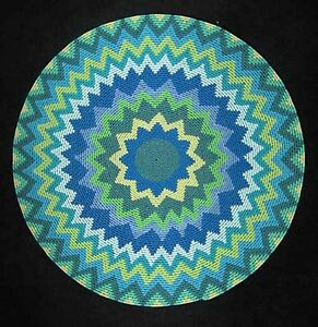 Wonderful-Radiating-Blue-Star-African-Zulu-Telephone-Wire-Basket-Plate-LARGE