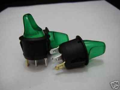 2pcs 120v - 240v OFF/ON Green Bulb Light Toggle Switch,G9H ay