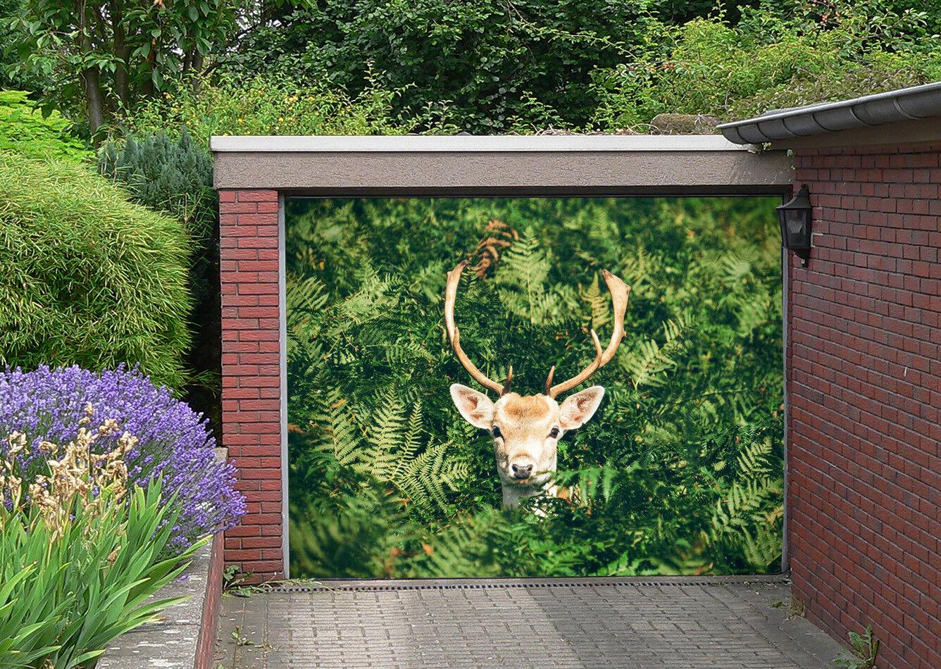 3D Green Jungle Deer 5 Garage Door Murals Wall Print Wall AJ WALLPAPER UK Lemon