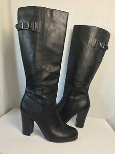 42014add29c KOHL S RN 73277 WOMENS Black BOOTS ZIP pull-up BUCKLE Size 10 Medium ...