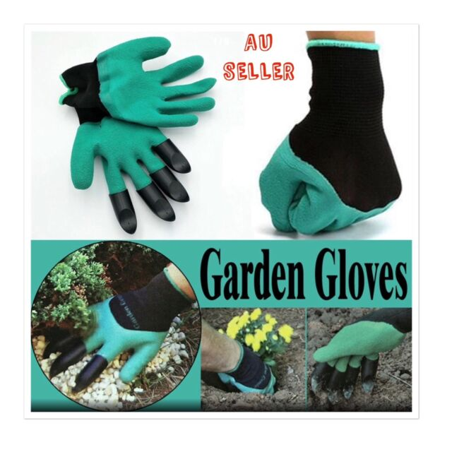 2 PAIRS of Gardening Gloves for garden Digging Planting with 4 ABS Plastic Claw