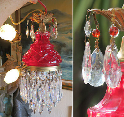 1 Vintage ruby Lady cupcake glass crystal Brass SWAG lamp chandelier 8'foot cord
