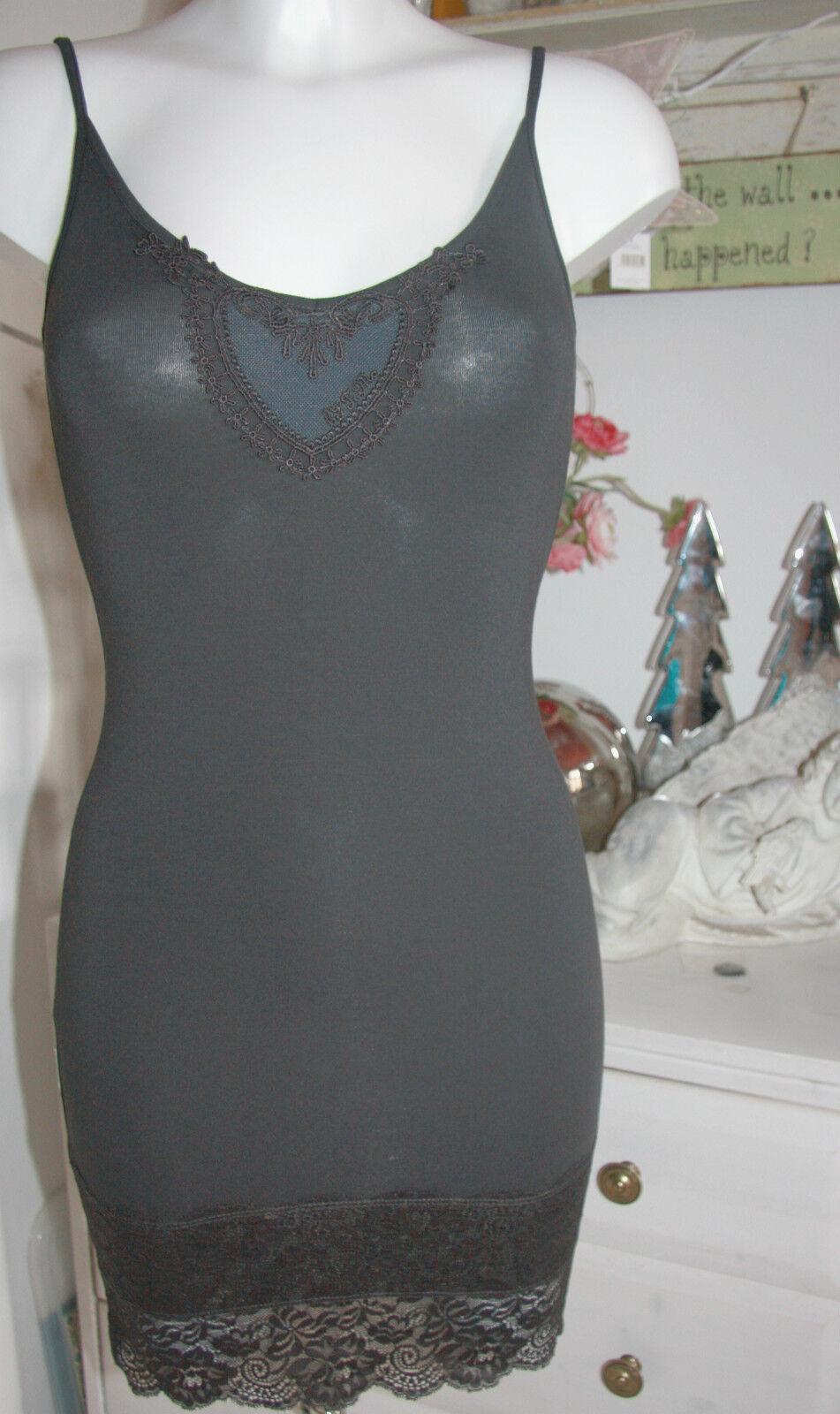 By Timo Ti Mo Träger-Kleid Dress Tunika Vintage Spitze Anthracite Größe XS   Neu