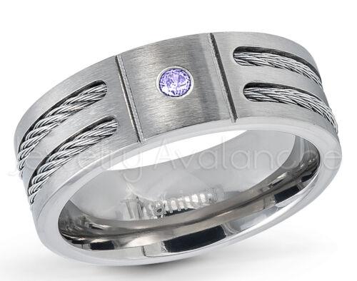 Men/'s Titanium Ring Double Cable 0.07ct Black Diamond Ring April Birthstone #761