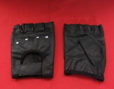Negro Cuero Guantes Sin Dedos-Unisex-Tamaño medio-Nuevo