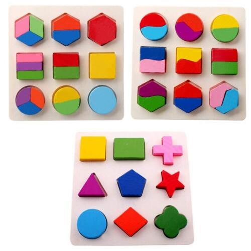 Lot of 3 Wooden Shape Puzzles Geometry Educational Math Montessori Toy USA