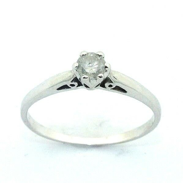 Ladies womens, 9ct 9carat gold engagement ring with solitaire diamond, UK size S