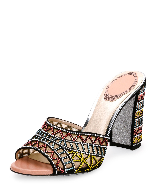 Rene  Caovilla Geometrica Crystal -Studded Mule Sandal, Multi Dimensione 8.5  38.5  consegna gratuita