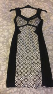 star-by-julien-macdonald-size-8-Black-And-White-Bodycon-Dress