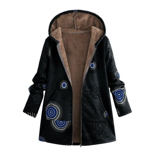 Women/'s Winter Warm Outwear Floral Print Hooded Pockets Vintage Oversize Coats