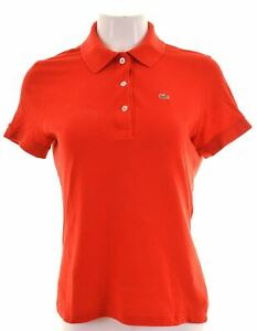 LACOSTE-Womens-Polo-Shirt-EU-42-Medium-Red-Cotton-BA09