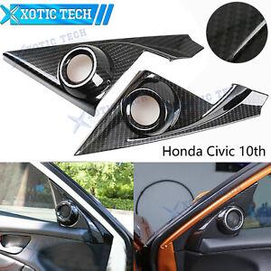 Carbon Fiber Grain Interior Front Door Speaker Window A Pillar Cover Trim For Honda 10th Gen Civic 2016 2017 2018 2019 2020
