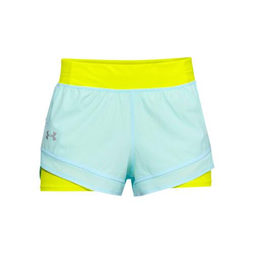 Under Armour señora Qualifier Speed Pocket 2in1 shorts azul claro nuevo