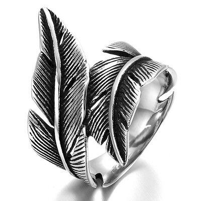 Stainless Steel Men's Ring , Color Black Silver, Biker, Feather, Vintage