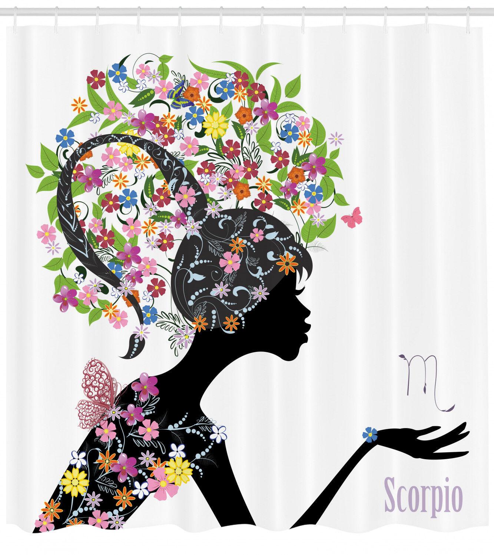 Zodiac Scorpio Scorpio Scorpio Shower Curtain Fabric Bathroom Decor Set with Hooks 4 Größes 15d7d8