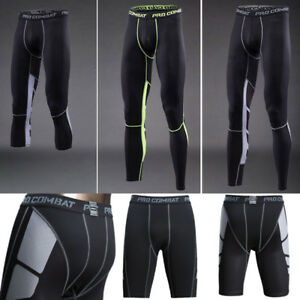 c3a5490e3baf6 Tights Long Short 3/4 Pants Mens Compression Gym Under Base Layer ...