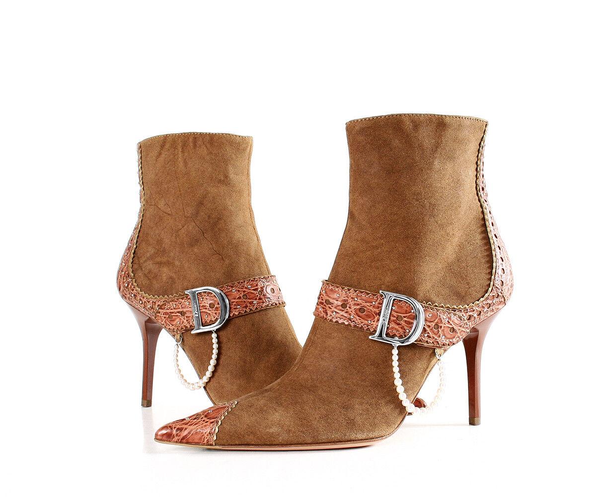 DIOR bottes chaussures Crocodile D Tour De Taille 8.5 Retail  1,455.00