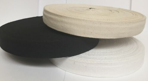 Natural /& Black Cotton Bunting Tape 3 X 1.2 cm X 50M Roll White