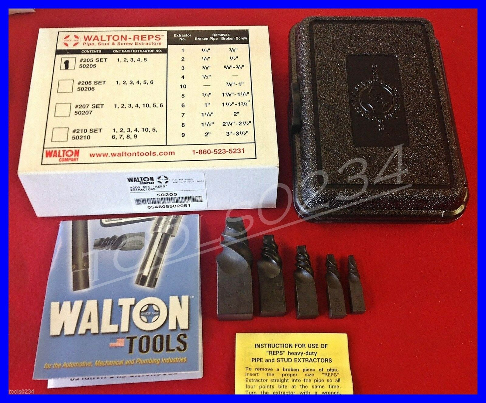 New Walton 50205 REPS Pipe Extractor Set  205  1-5 for pipe 1 8-3 4  Made in USA