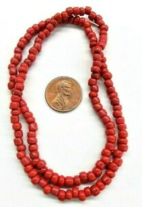 200 TRADE BEADS ANTIQUE BRICK RED STRIPED PONY BEADS RT 1839 BIN D