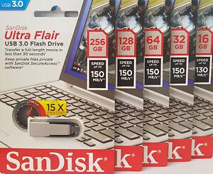 USB Flash Drive 3.0 SanDisk Ultra Flair Memory Stick 32GB 64GB 16GB 128GB 256GB
