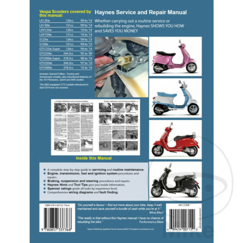 Vespa LX 125 ie 2010-2013 Haynes Service Repair Manual 4898