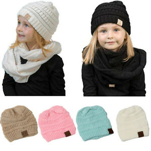 055830e141b Baby Caps Hats For Girls Childrens Winter Warm Crochet Knit Hat ...