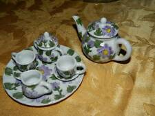 Miniature Doll House China Tea Set in Lavander Floral 10 pieces