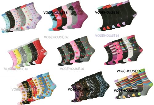 12 PAIRS Design pattern Ladies printed Socks Cotton Rich Lycra Everyday Sock 4-7