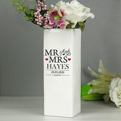 Personalised Mr /& Mrs flower bud Vase Wedding White Square Vase Gift New Home