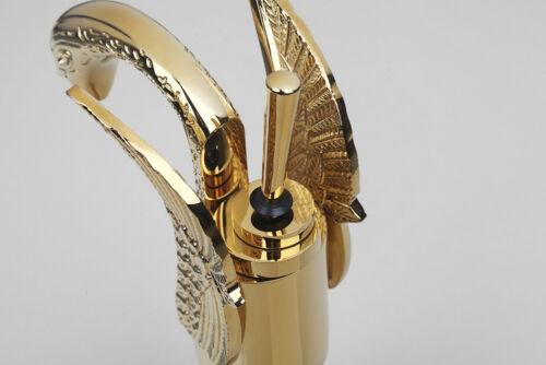 Swan Design Bathroom Basin Faucet One Lever Vanity Sink Mixer Tap Gold Polished