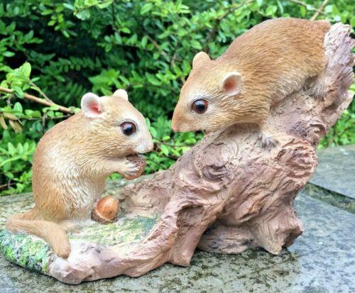 2 Dormouse Mouse su ramo a giocare Vivida ART Pet Pals Decorazione Giardino £ 17.99
