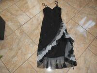 EB147  Träger Volant Glitzer Kleid  Kleid S Schwarz weiß Grau Individualisiert S