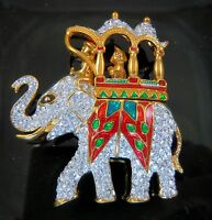Kenneth Jay Lane Kjl Crystal Royal Maharajah Elephant Pin With Coa