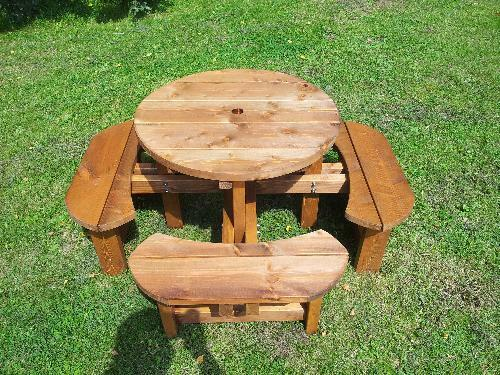 8 Seat Pub Type Bench 38mm Treated Timber Childrens Bench Round Picnic Table