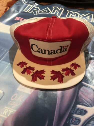 Vintage Canada Patch Trucker Hat Cap Snapback Red/