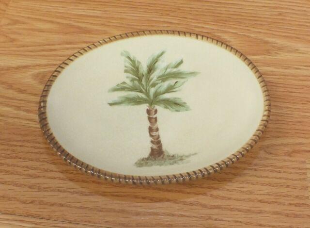 Springmaid palm breeze soap dish palm tree monkey ceramic