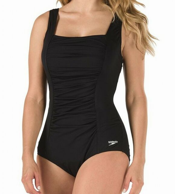 Speedo Womens Swim Black Size 6 Endurance+ Shirred Square Neck Swimsuit $82-