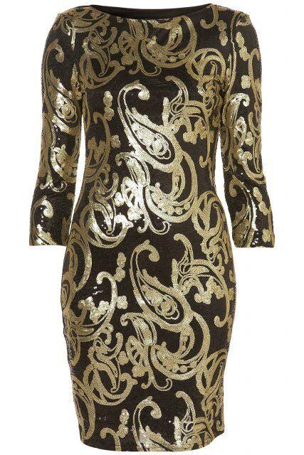 Topshop schwarz Gold Sequin Baroque Celeb Bodycon Evening Occasion Dress Größe 10