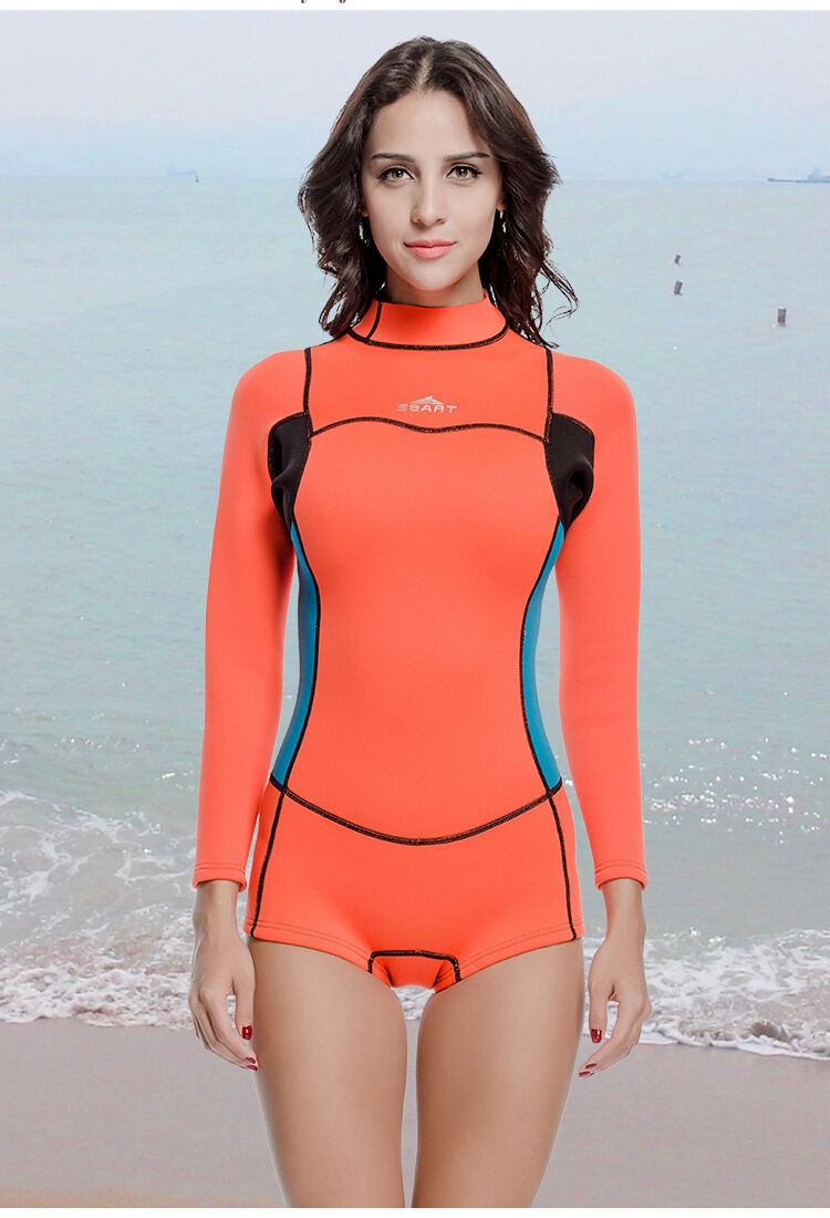 2mm Neoprene Woman Scuba Long Sleeve  Shorts Jumpsuit Swim Dive Surfing Wetsuits  we supply the best
