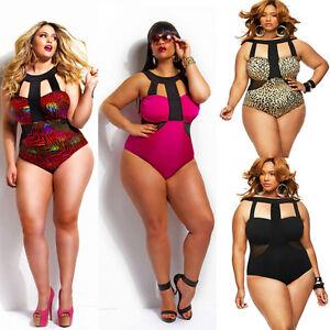 Plus-Size-Women-Padded-High-Waist-Monokini-Hater-Neck-One-Piece-Swimwear-Bathing