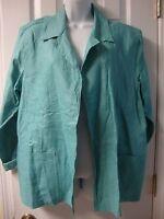 Women's COLDWATER CREEK seagreen linen easy jacket, sz L